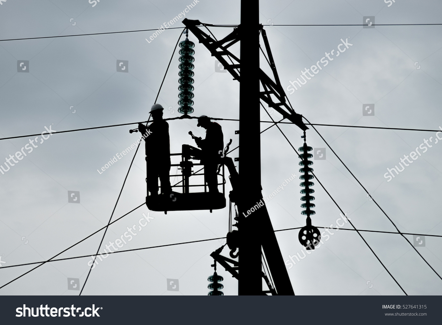 hight resolution of power line support insulators and wires appearance of a design assembly and installation