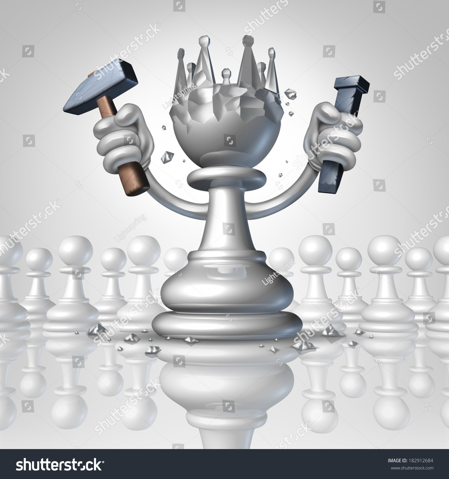 Power To Change Personal Growth Concept With A Chess Pawn Using A Hammer And Chisel Sculpting A King Crown From His Body As A Business Concept Of ...