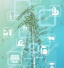 power transmission tower and smart energy smart grid renewable energy icons abstract image [ 1097 x 1600 Pixel ]