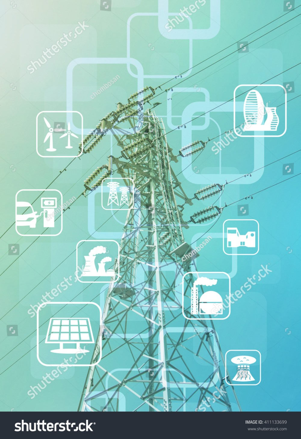 medium resolution of power transmission tower and smart energy smart grid renewable energy icons abstract image