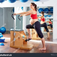 Chair Gym Workout Videos Best Lift Recliners Pregnant Woman Pilates Exercise Wunda Stock Photo