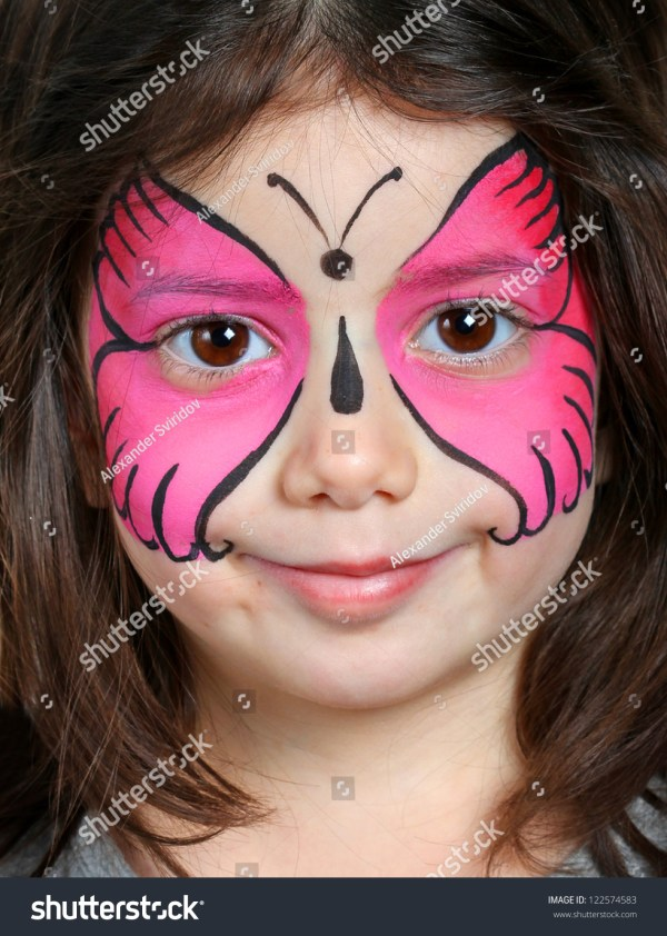 Pretty Girl With Face Painting Of Butterfly Stock 122574583 Shutterstock