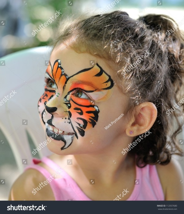 Pretty Girl With Face Painting Of Jaguar Stock 112937680 Shutterstock