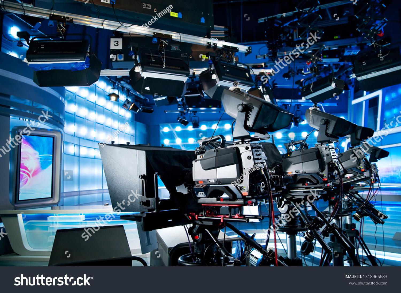 https www shutterstock com image photo professional equipment blue television news studio 1318965683