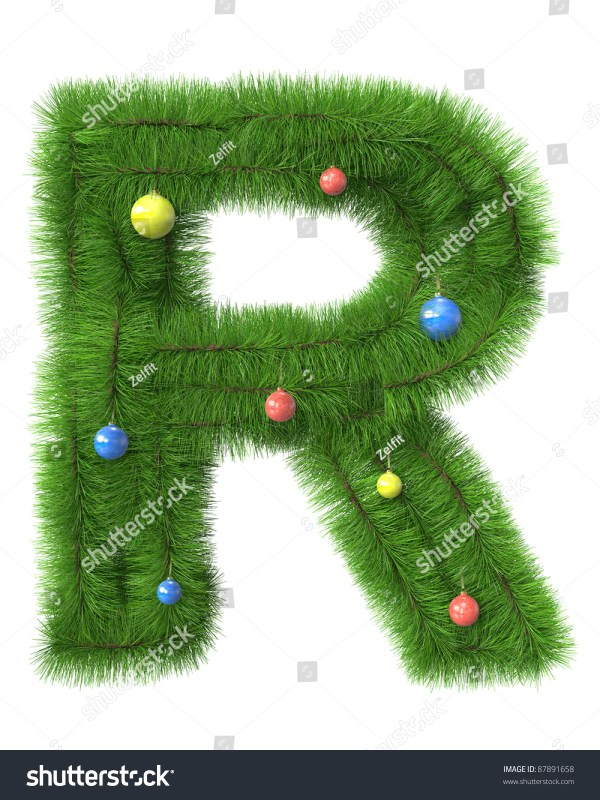 R Letter Made Of Christmas Tree Branches Isolated On White ...