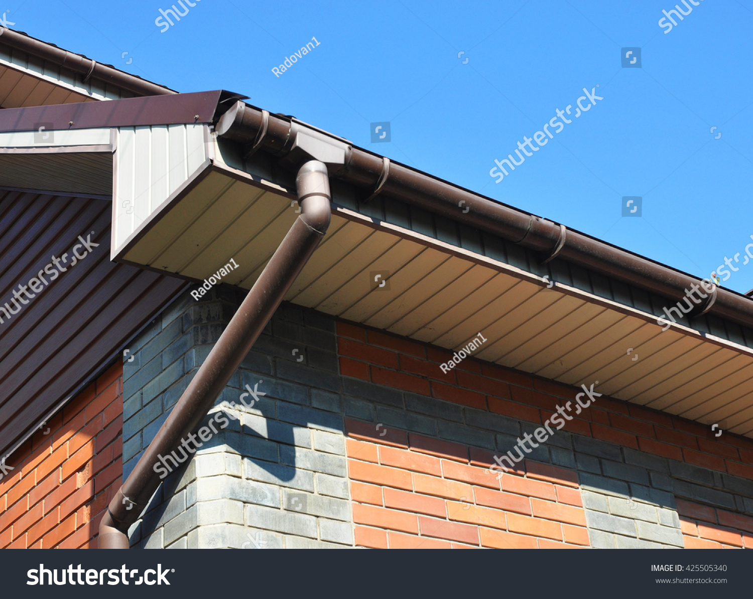 Rain Gutter With Downspout Pipe. Stock Photo 425505340 : Shutterstock