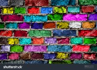 Rainbow Colourful Brick Wall Background Stock Photo ...