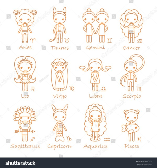 Raster Isolated Hand Drawing Zodiac Signs Stock Illustration 309971216 - Shutterstock