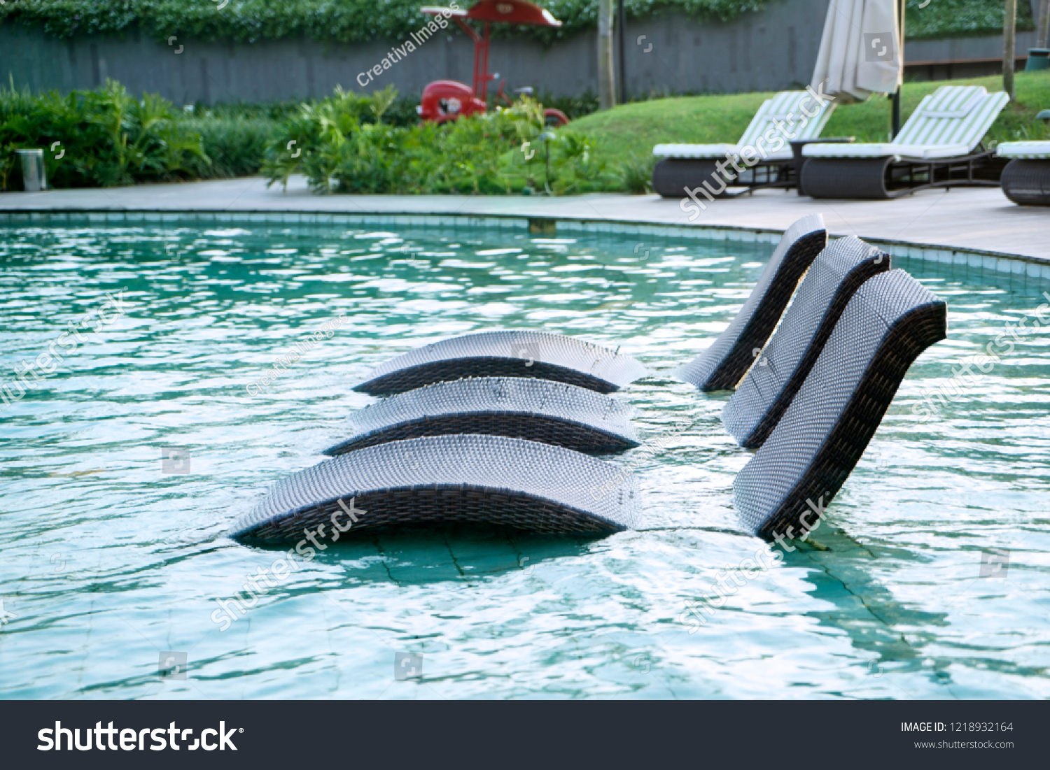 Chairs For Pool Rattan Bench Chairs On Swimming Pool Stock Photo Edit Now