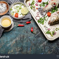 Kitchen Food Preparation Table Skylights Raw Fish On Stock Photo