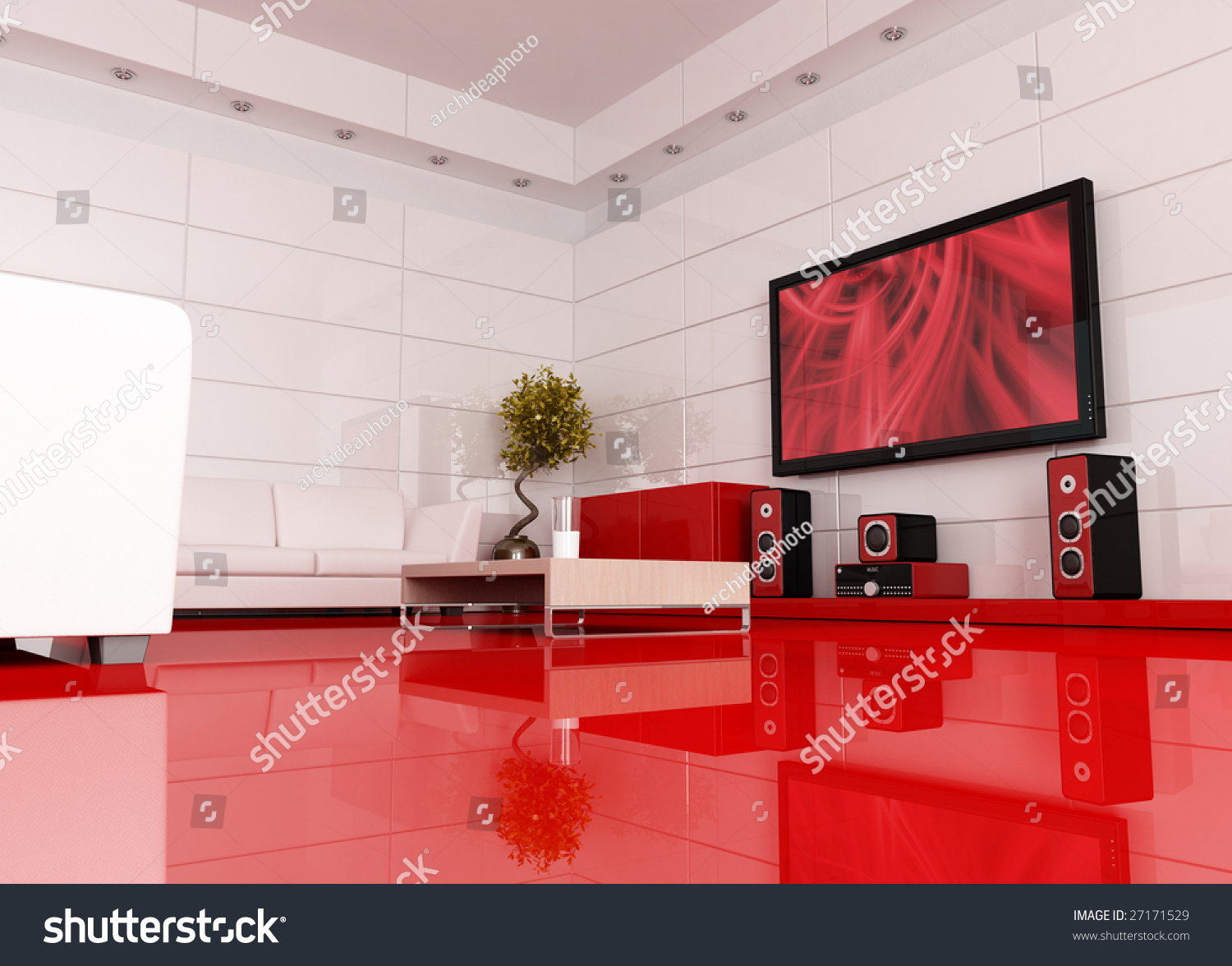 red and white living room ideas with dark brown furniture home theater stock illustration 27171529 the image on tv screen is a
