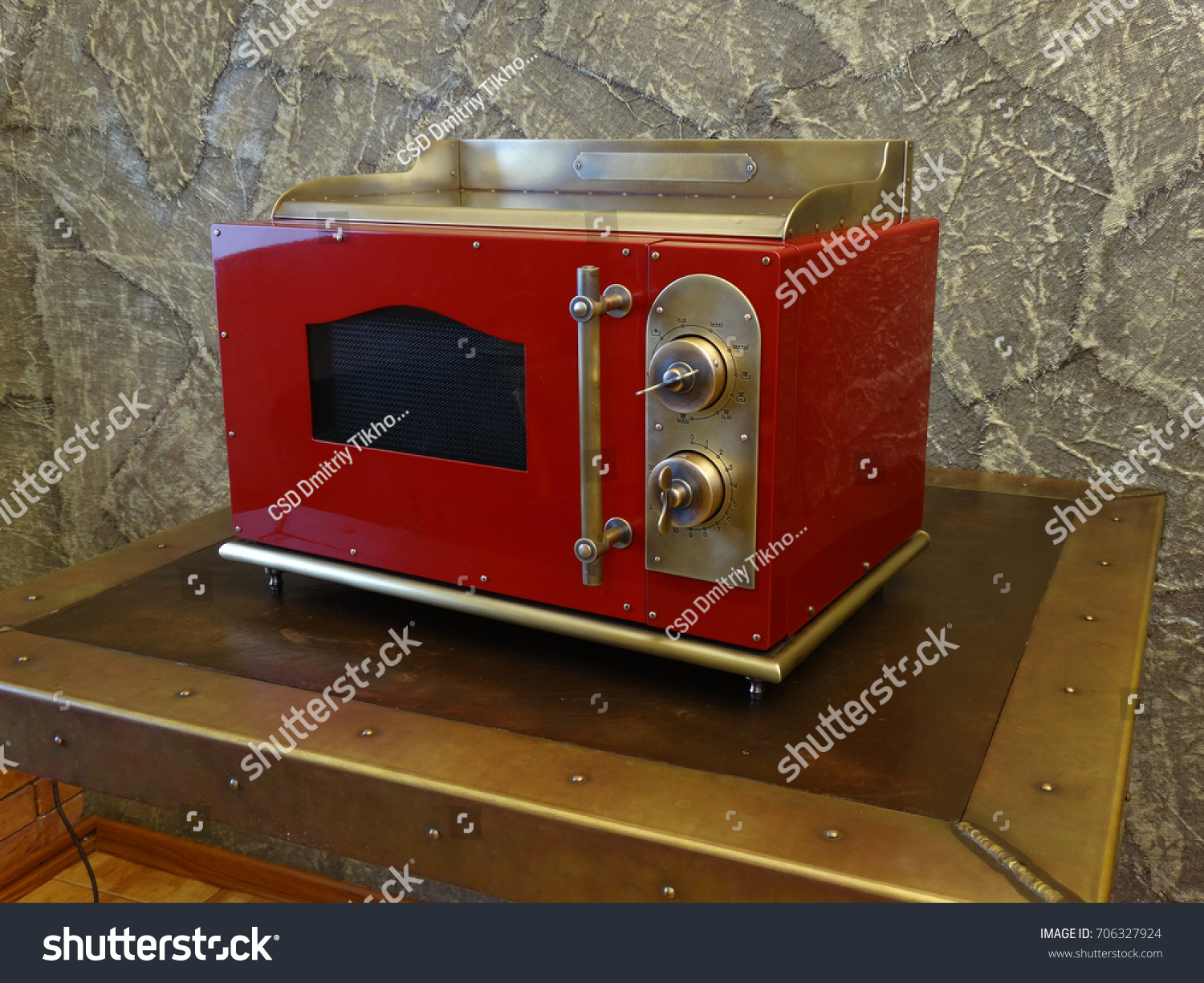 https www shutterstock com image photo red copper microwave oven retro style 706327924