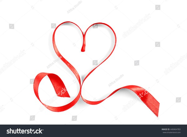 Red Heart Shaped Ribbon Isolated Stock 440464783