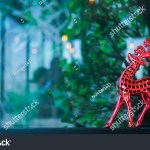Red Reindeer Christmas Decoration Cafe Shop Stock Photo Edit Now 1242269794