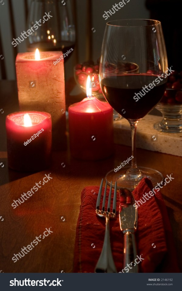 Red Romantic Dinner Setting Two Stock Photo 2146192