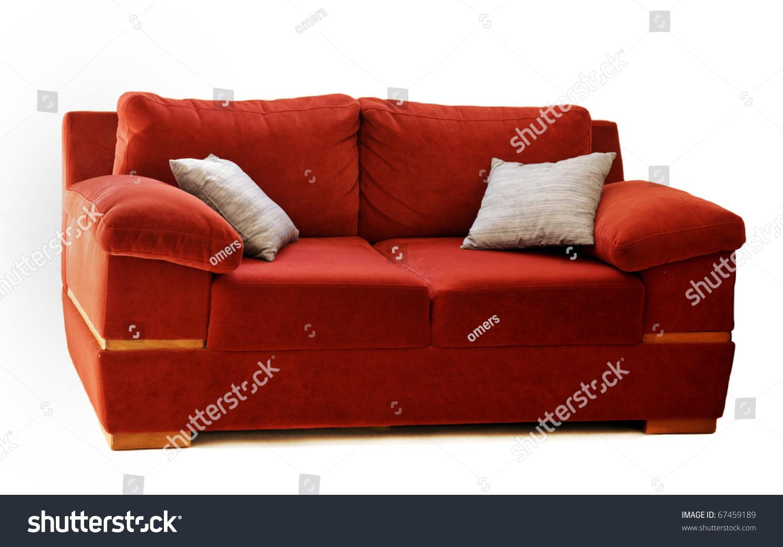 red sofa pillows serta sabrina with two silver stockfoto 67459189