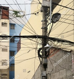 residential power supply tangled wires on a telephone pole for supplying neighboring apartment buildings with electricity in downtown saigon vietnam [ 978 x 1600 Pixel ]
