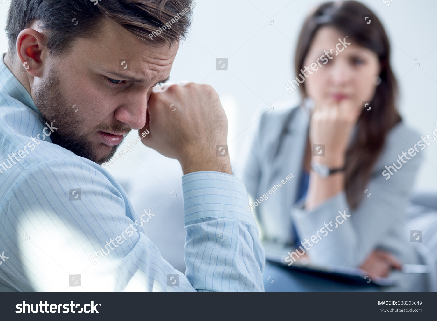 Resigned Man Receiving Psychotherapy Psychiatrists Office Stock Photo 338308649 - Shutterstock