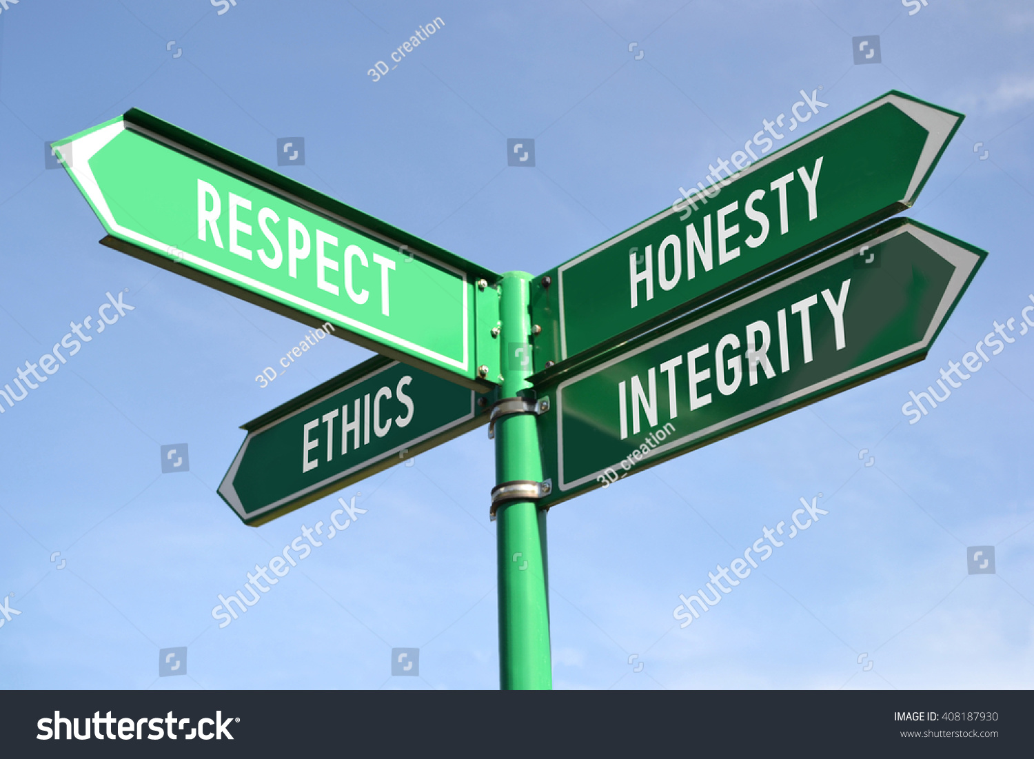 Respect Honesty Ethics Integrity Signpost Stock Photo