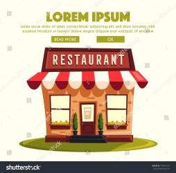 Restaurant Cafe Exterior Building Cartoon Illustration Stock Illustration 749402152