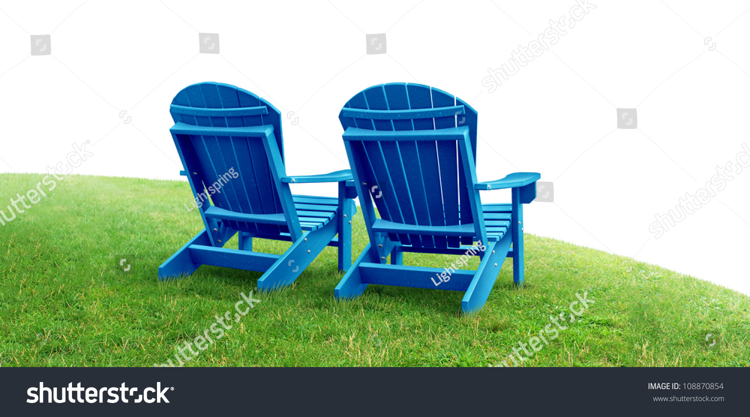 green lawn chairs original guitar chair retirement planning symbol with two empty blue adirondack