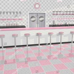 Kitchen Counter Stools Cabinets For Less Retro Or Vintage Diner In Pink, White, And Gray Color ...