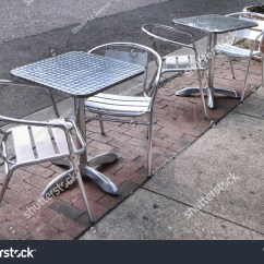 Stainless Steel Outdoor Table And Chairs Compact Folding Chair Retro Style Restaurant Tables