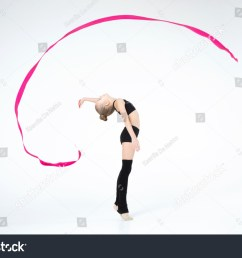 rhythmic gymnastics white caucasian cute beautiful girl execute pivots and pirouettes during dancing in black suit [ 1500 x 1096 Pixel ]