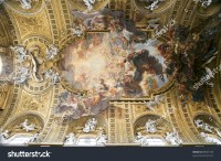 Rome, Italy. Famous Painting In The Ceiling Of Gesu Church