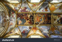 Rome, Italy. Famous Painting In The Ceiling Of Santa Maria