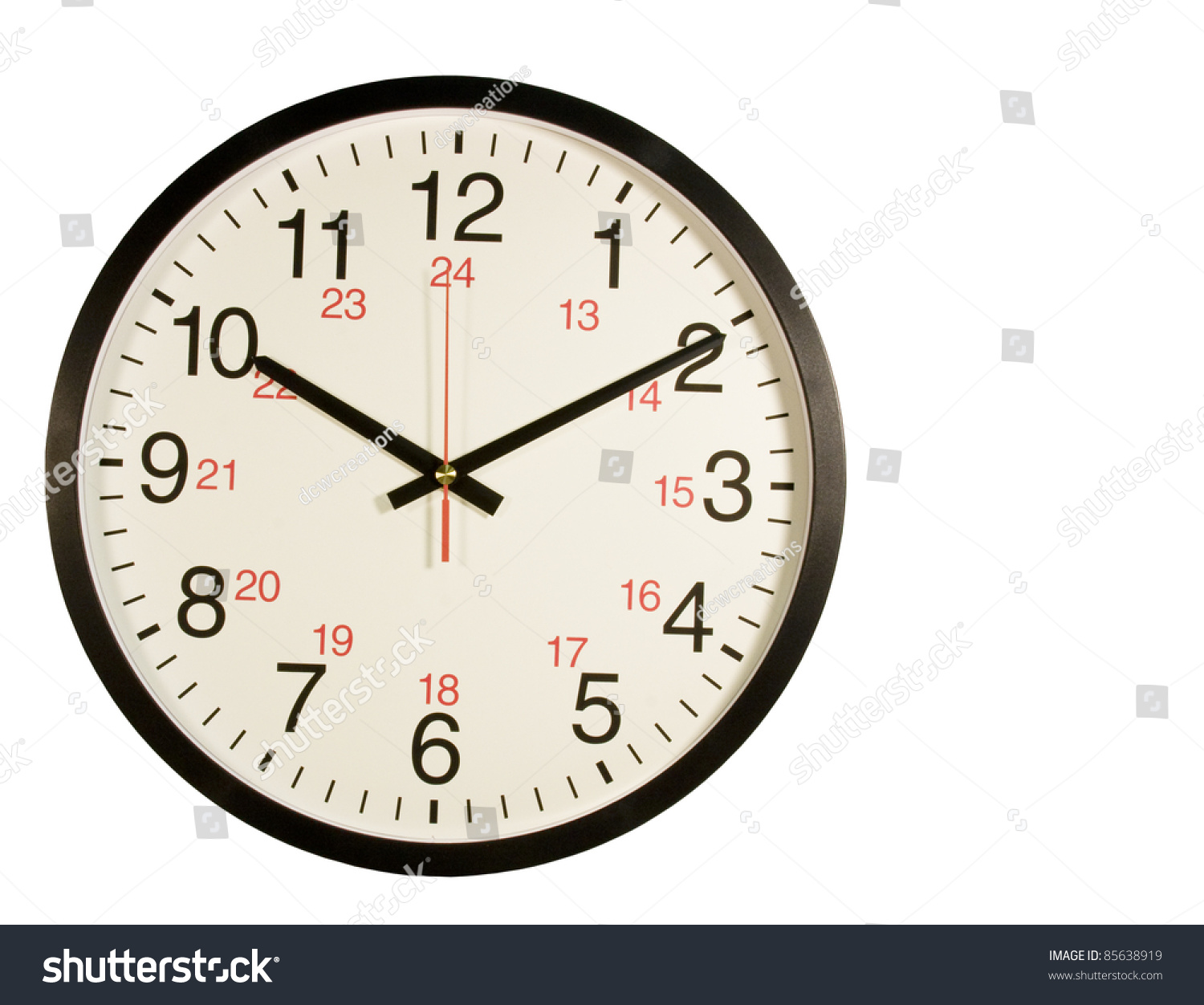 Round Clock With Regular And Military Time On The Face
