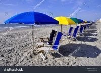 Row Of Beach Chairs And Umbrellas Stock Photo 213922222 ...