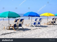 Row Beach Chairs Umbrellas On Beach Stock Photo 199208294 ...