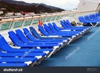 Row Of Beach Chairs On Cruise Ship Deck Stock Photo ...