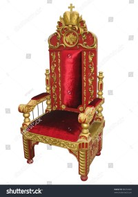 Royal King Red And Golden Throne Chair Isolated Over White ...