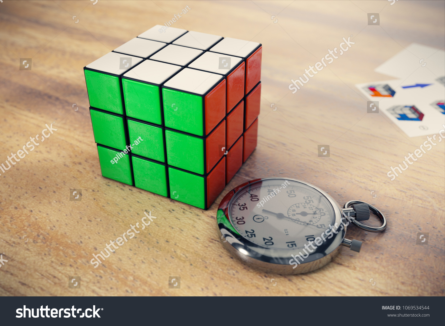 hight resolution of rubik s cube on a wooden table with a stopwatch near it and solving diagram on background