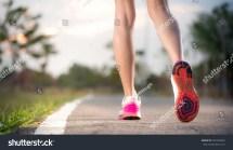 Runner Feet Running Road Stock 545593693