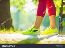 Runner Woman Feet Running Road Stock 309457685