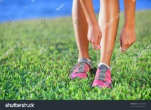 Female Barefoot Running