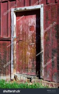 Rustic Red Door On Tin Barn Stock Photo 143341027 ...