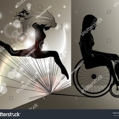 Wheelchair Jump Silver Crushed Velvet Dining Chair Covers Sad Woman Jumping Girl Shadow Stock