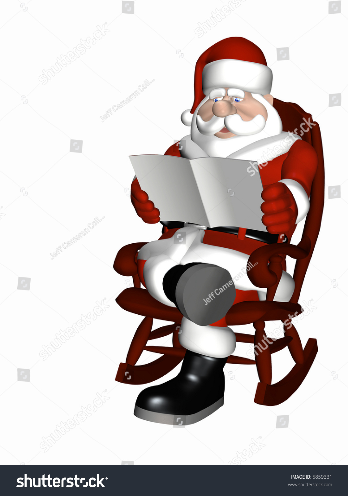 rocking chair christmas covers wheel indigo santa relaxing in a reading magazine the