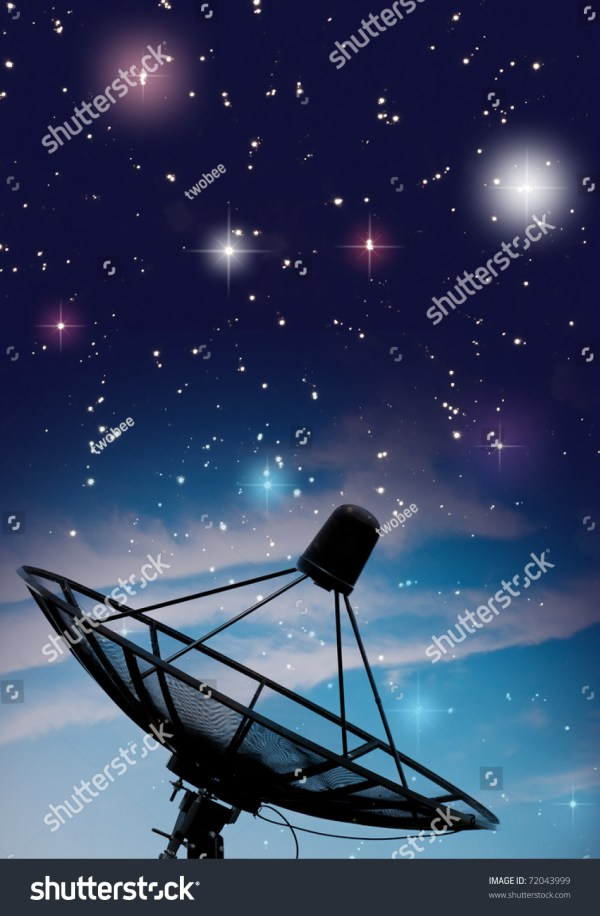 Satellite Dish Under Starry Night Sky Stock 72043999 Shutterstock