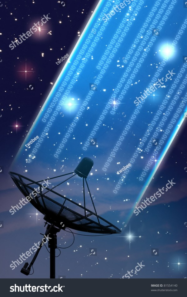 Satellite Dish Under Starry Night Sky Stock 81554140 Shutterstock