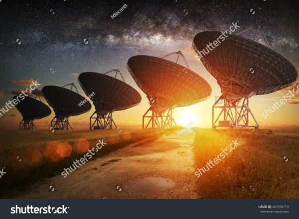 Satellite Dish View Night Milky Stock 402590713 - Shutterstock