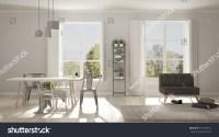 Scandinavian Living Room Big Windows Garden Stock ...