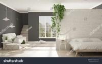 Scandinavian White Gray Minimalist Living Bedroom Stock ...