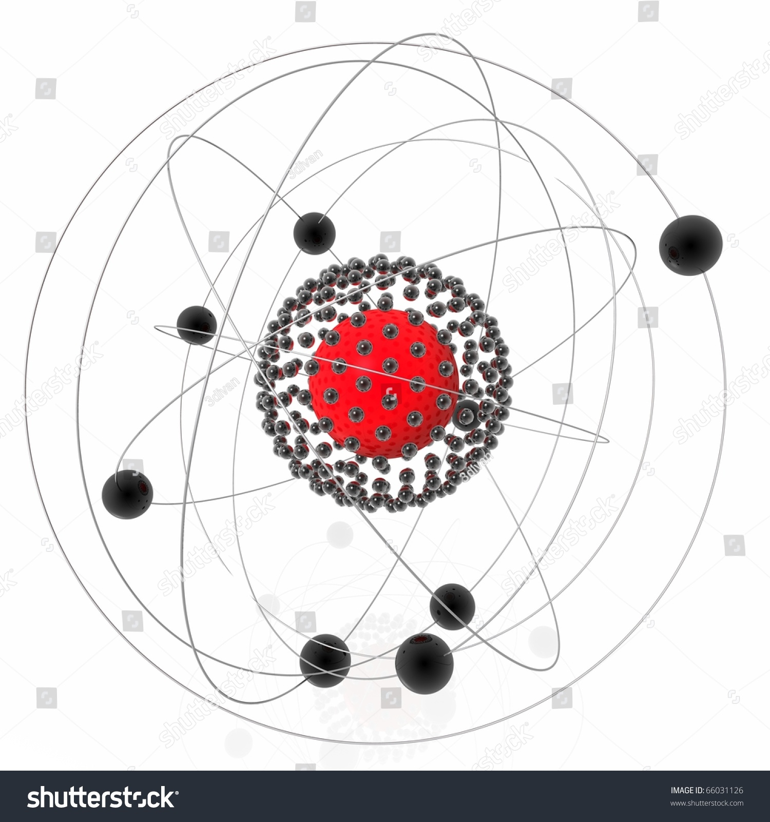 Schematic Atomic Structure Spheres Rings Stock Illustration