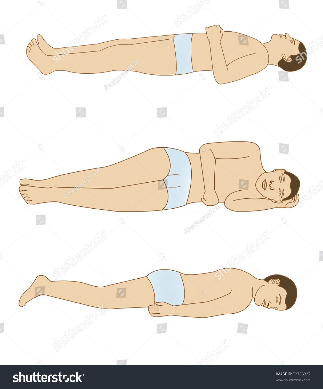 hight resolution of schematic drawing of the positions of the body for a good rest