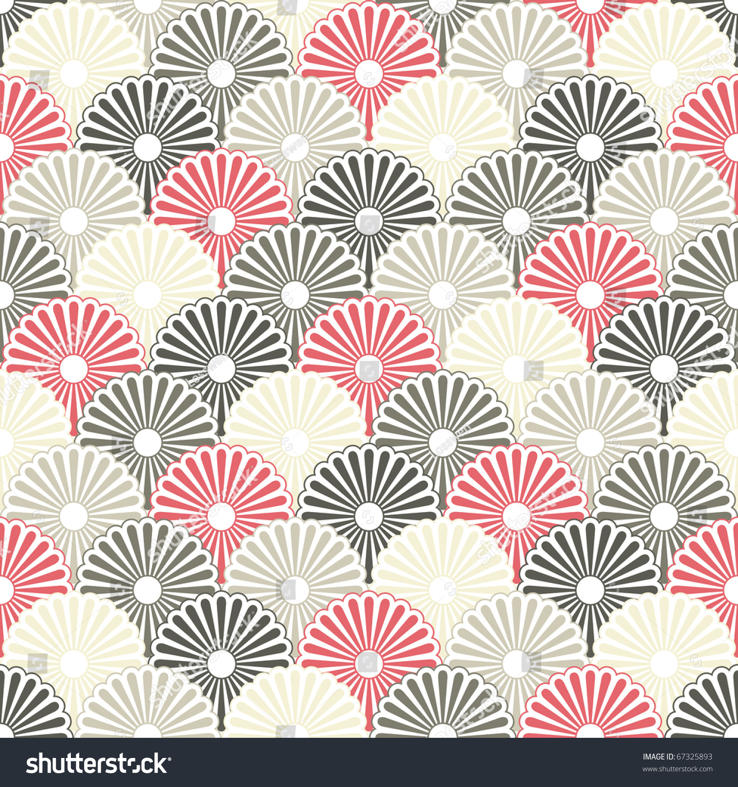 Seamless Japanese Pattern In Pastel Colors Stock Photo